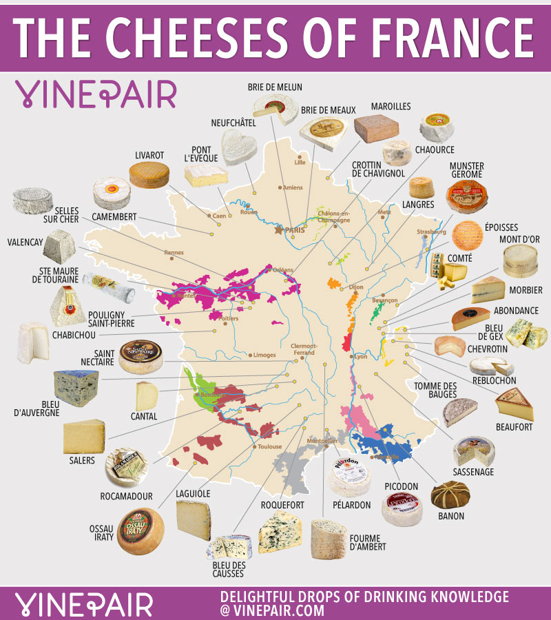 illustrated map of French cheeses