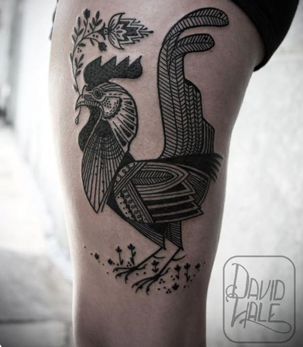 Classic French rooster tattoo coq gaulois- gallic rooster tattoo