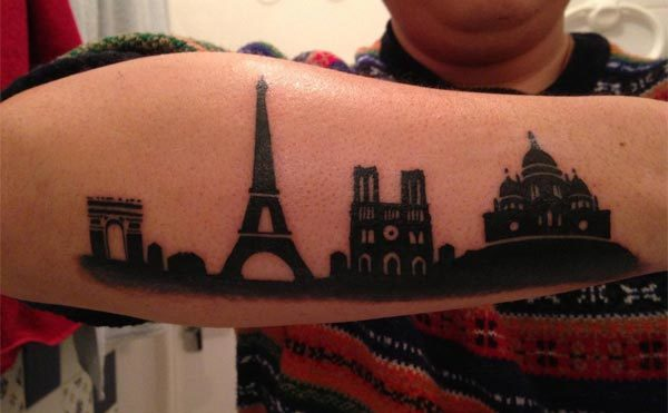 Paris city skyline tattoo